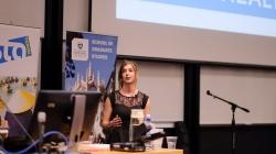 Kate Riegle van West presenting her 3MT