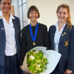 Louise and two host school prefects
