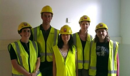 Lab group visiting the construction site