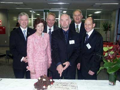 Professor Colin Green (centre front) with Drs Wendy and Bruce Hadden at a function at the University of Auckland to mark his appointment as Professor of Ophthalmology and Translational Vision Research. Front row: Dr Wendy Hadden, Prof Colin Green, Dr Bruce Hadden; Back row: Prof Charles McGhee, Medical and Health Sciences Dean Prof Peter Smith, and University of Auckland Vice-Chancellor Prof Stuart McCutcheon.